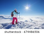 hiker in winter caucasus... | Shutterstock . vector #674486506