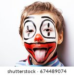 Little Cute Boy With Facepaint...