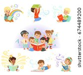 cute little kids reading fairy... | Shutterstock .eps vector #674489200