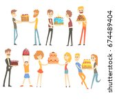 set of happy and loving people... | Shutterstock .eps vector #674489404