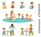 smiling little boys and girls... | Shutterstock .eps vector #674489494
