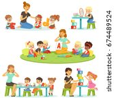 teacher explaining alphabet to... | Shutterstock .eps vector #674489524