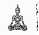 abstract sitting buddha... | Shutterstock .eps vector #674493250