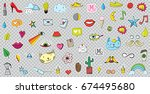 big set of patches elements... | Shutterstock .eps vector #674495680