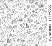 hand drawn fresh bakery pattern.... | Shutterstock .eps vector #674497300