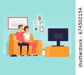 couple sitting on the couch... | Shutterstock .eps vector #674502154