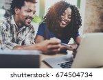 happy smiling african american... | Shutterstock . vector #674504734