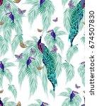 exotic summer seamless pattern... | Shutterstock .eps vector #674507830