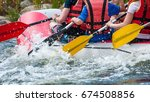 Rafting. Close Up View Of Oars...