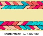 colorful braid hair vector...   Shutterstock .eps vector #674509780