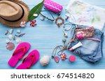 summer concept with women's... | Shutterstock . vector #674514820
