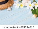summer concept with hat ... | Shutterstock . vector #674516218