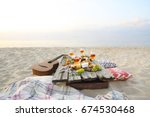 top view beach picnic table.... | Shutterstock . vector #674530468