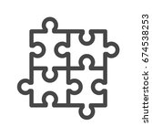 puzzle thin line icon. flat... | Shutterstock . vector #674538253