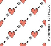 seamless heart and arrow hand... | Shutterstock .eps vector #674541100
