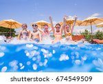 children play fun with splashes ... | Shutterstock . vector #674549509
