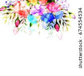 colorful watercolor flowers... | Shutterstock .eps vector #674554534