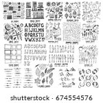 mega set of icon doodles of... | Shutterstock .eps vector #674554576