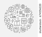 nuclear power outline... | Shutterstock .eps vector #674556220