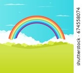 grass field with rainbow on... | Shutterstock .eps vector #674558074