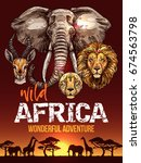 african safari poster with wild ... | Shutterstock .eps vector #674563798