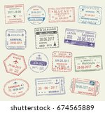 passport stamp set. travel visa ... | Shutterstock .eps vector #674565889