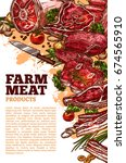 fresh meat product of organic... | Shutterstock .eps vector #674565910