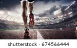 sports background. runner feet... | Shutterstock . vector #674566444