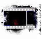 grunge film strip frame on...   Shutterstock . vector #674566663