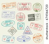 passport stamps set of... | Shutterstock .eps vector #674566720
