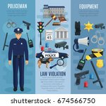 policeman  police equipment and ... | Shutterstock .eps vector #674566750