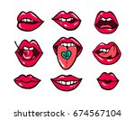 red lips sticker collection.... | Shutterstock .eps vector #674567104