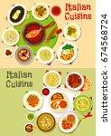 italian cuisine lunch icon set... | Shutterstock .eps vector #674568724