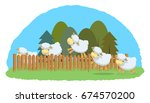 lambs jump over the hedge.... | Shutterstock .eps vector #674570200