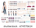 Young lady character constructor. Trendy girl creation set. Different woman postures, hairstyle, face, legs, hands, clothes, accessories collection. Vector cartoon illustration. Front, side, back view | Shutterstock vector #674570614