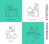 set of flat outline icons.... | Shutterstock .eps vector #674572024