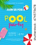 pool party poster vector... | Shutterstock .eps vector #674575678