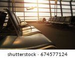 airport terminal with empty... | Shutterstock . vector #674577124