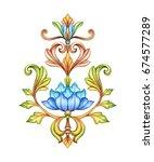 floral ornament, medieval damask background, acanthus, watercolor hand painted illustration, blue flower and gold leaves, vintage botanical wallpaper