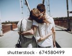 stylish couple in love hugging  ... | Shutterstock . vector #674580499