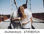 stylish couple in love hugging  ... | Shutterstock . vector #674580514