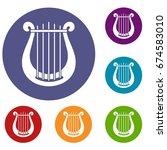 harp icons set in flat circle...