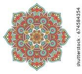 flower mandala. vintage...   Shutterstock .eps vector #674584354