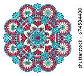 flower mandala. vintage...   Shutterstock .eps vector #674584480