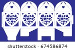 openwork box with lace ornament....   Shutterstock .eps vector #674586874