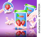 strawberry yogurt. 3d realistic ... | Shutterstock .eps vector #674589334