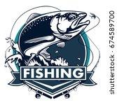 salmon fish.vintage salmon... | Shutterstock .eps vector #674589700