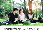 young students asian together... | Shutterstock . vector #674592310
