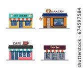 vector flat icon shops set. for ... | Shutterstock .eps vector #674597584