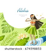 aloha hawaii background with... | Shutterstock .eps vector #674598853